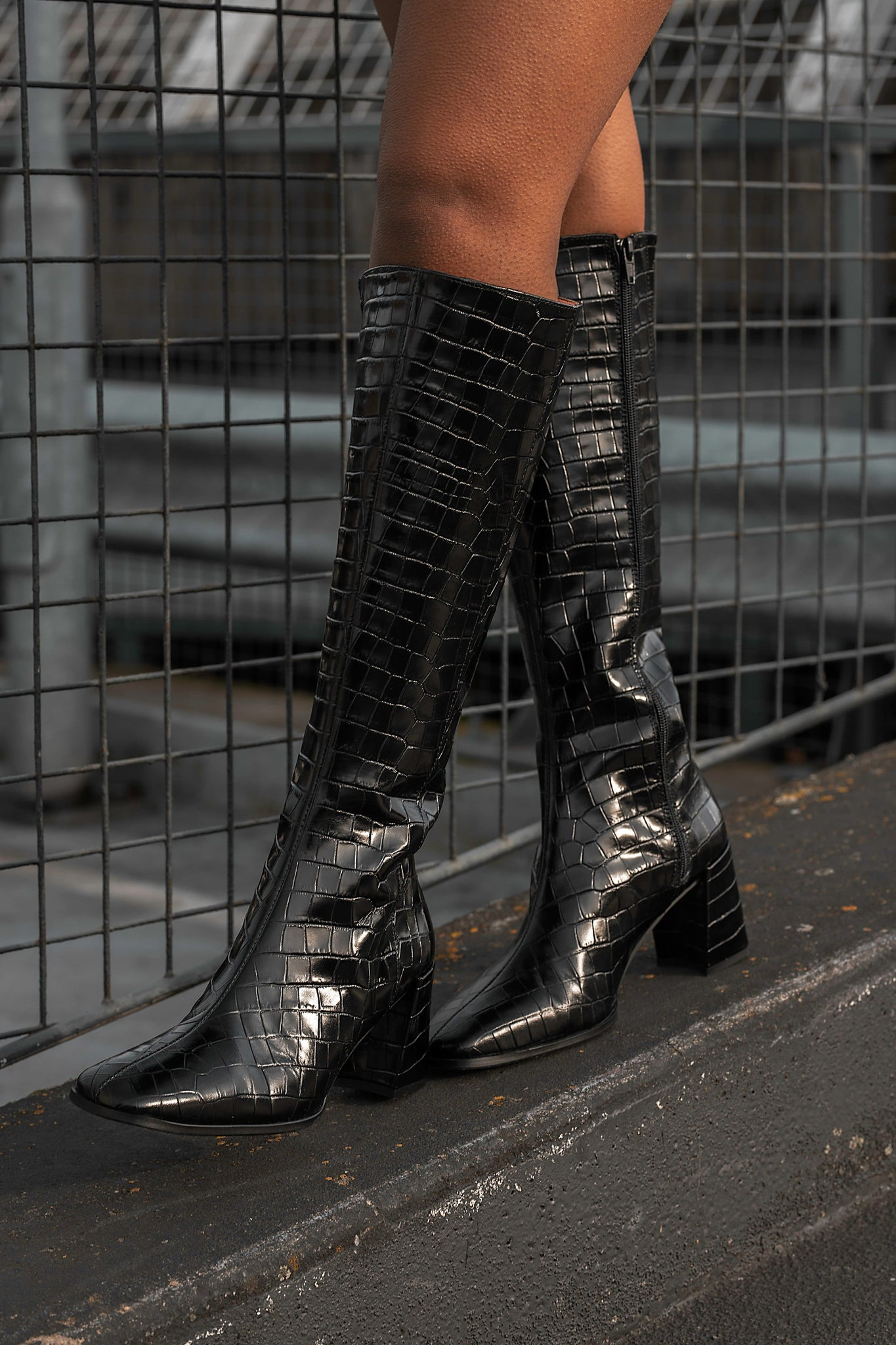 SUSO | Black Leather Pattern Knee High Boots - TrystShoes
