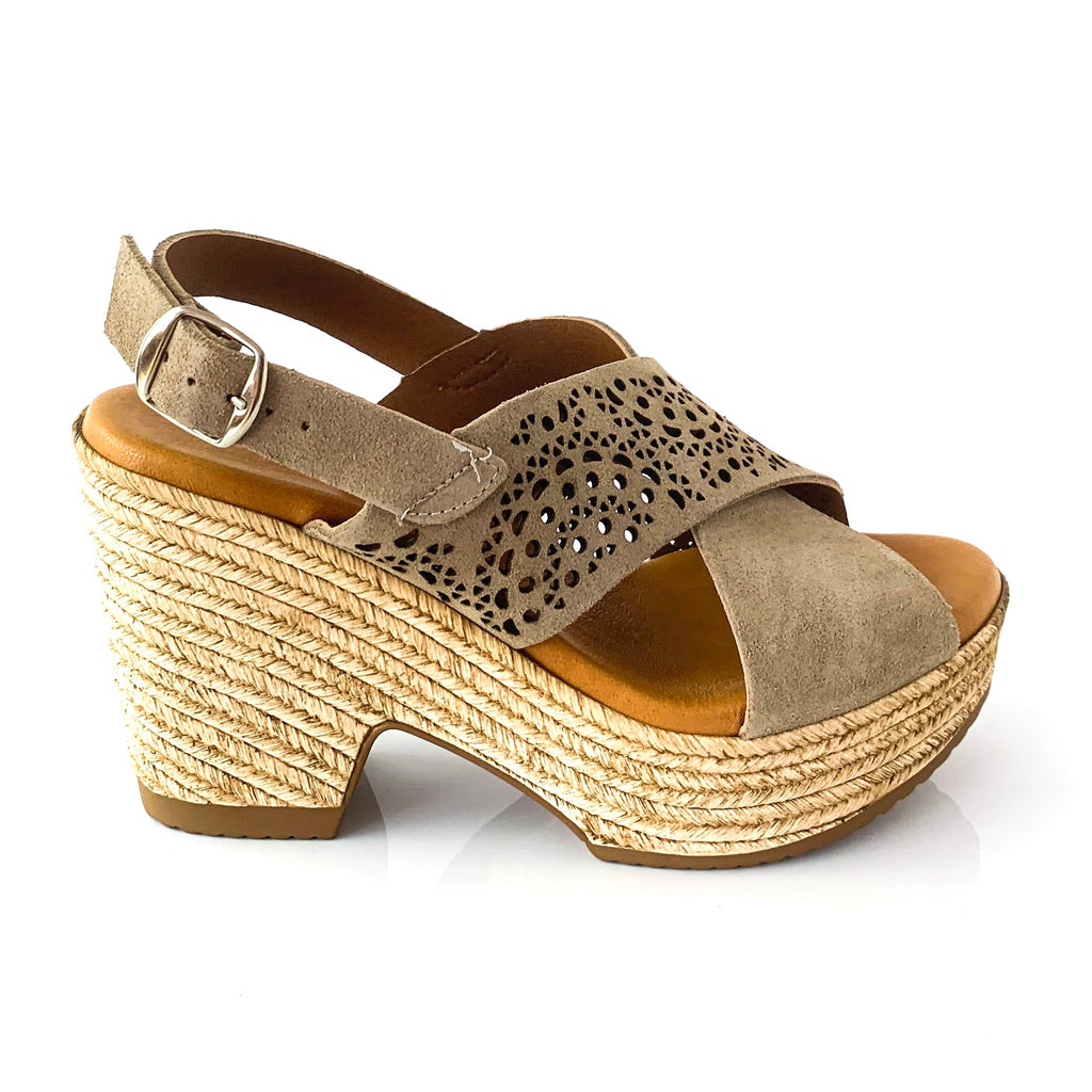 CLARISSA | Taupe Wedge Sandals - TrystShoes