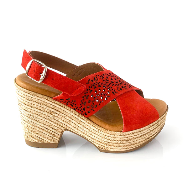 NOVA | Red Suede Wedge Sandal - TrystShoes
