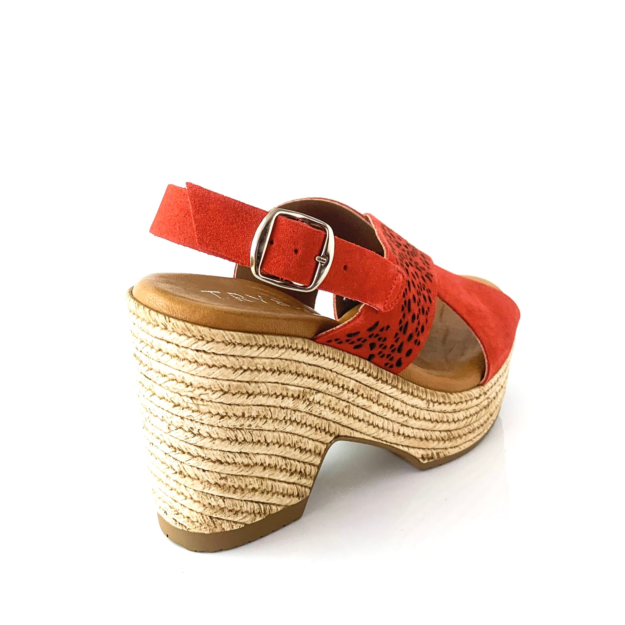 ISLA | Red Suede Wedge Sandal - TrystShoes