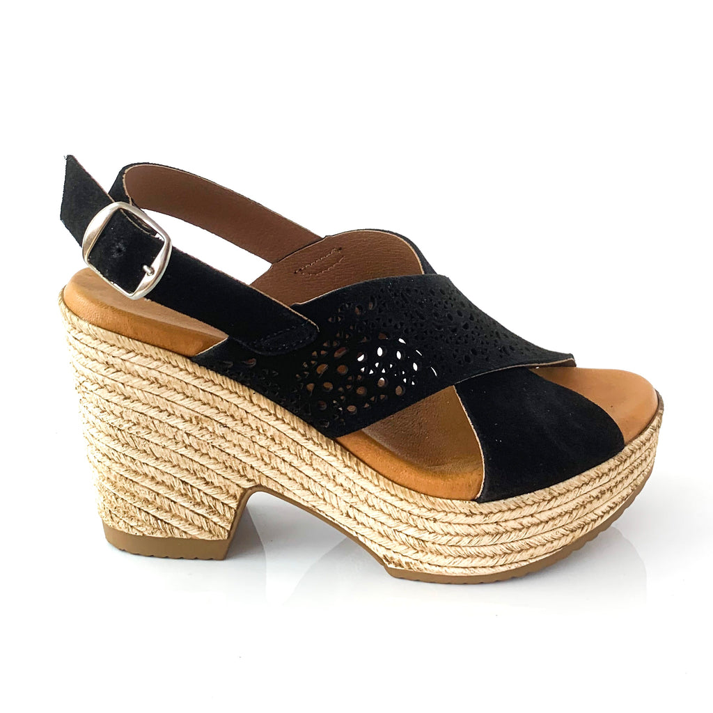 SARA | Black Wedge Heel - TrystShoes