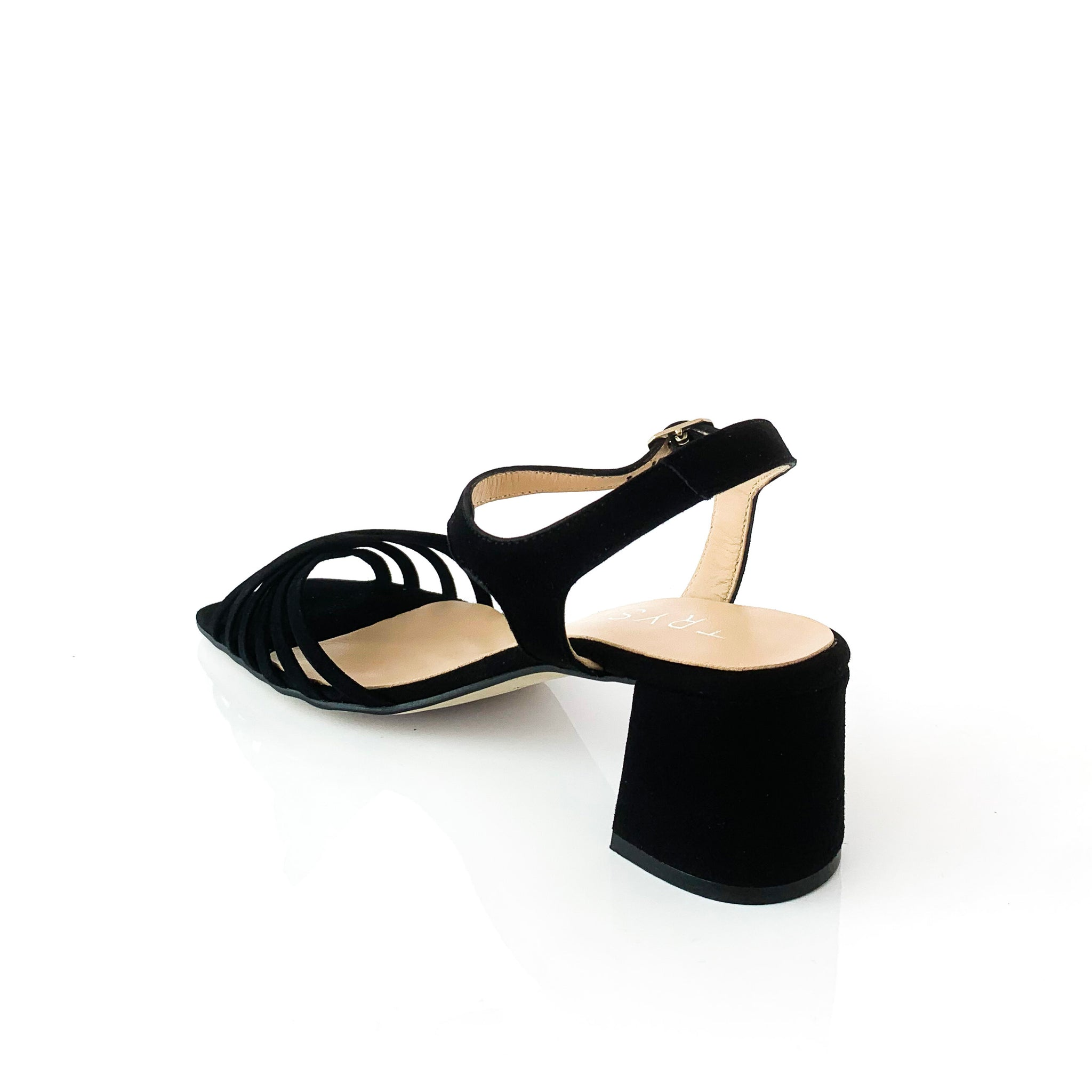 GRACE | Suede Black Sandals - TrystShoes