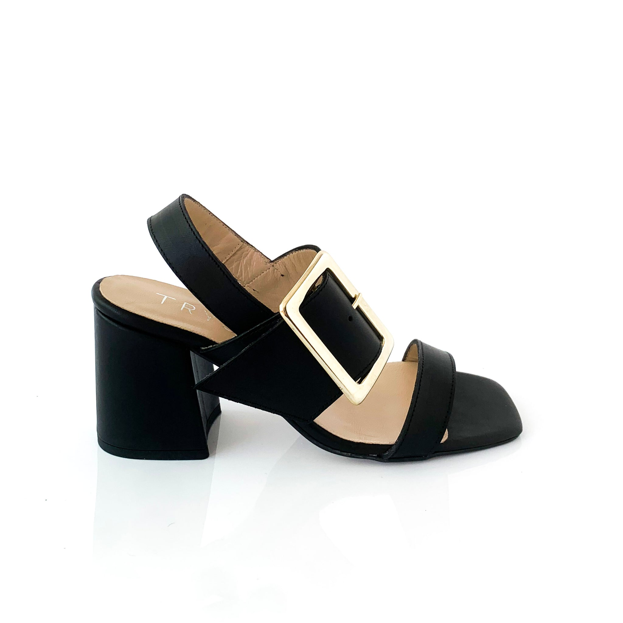 ELISE | Black Buckled Wedge - TrystShoes