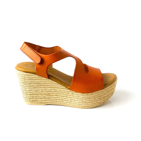 NADIA | Orange Platform Sandals - TrystShoes