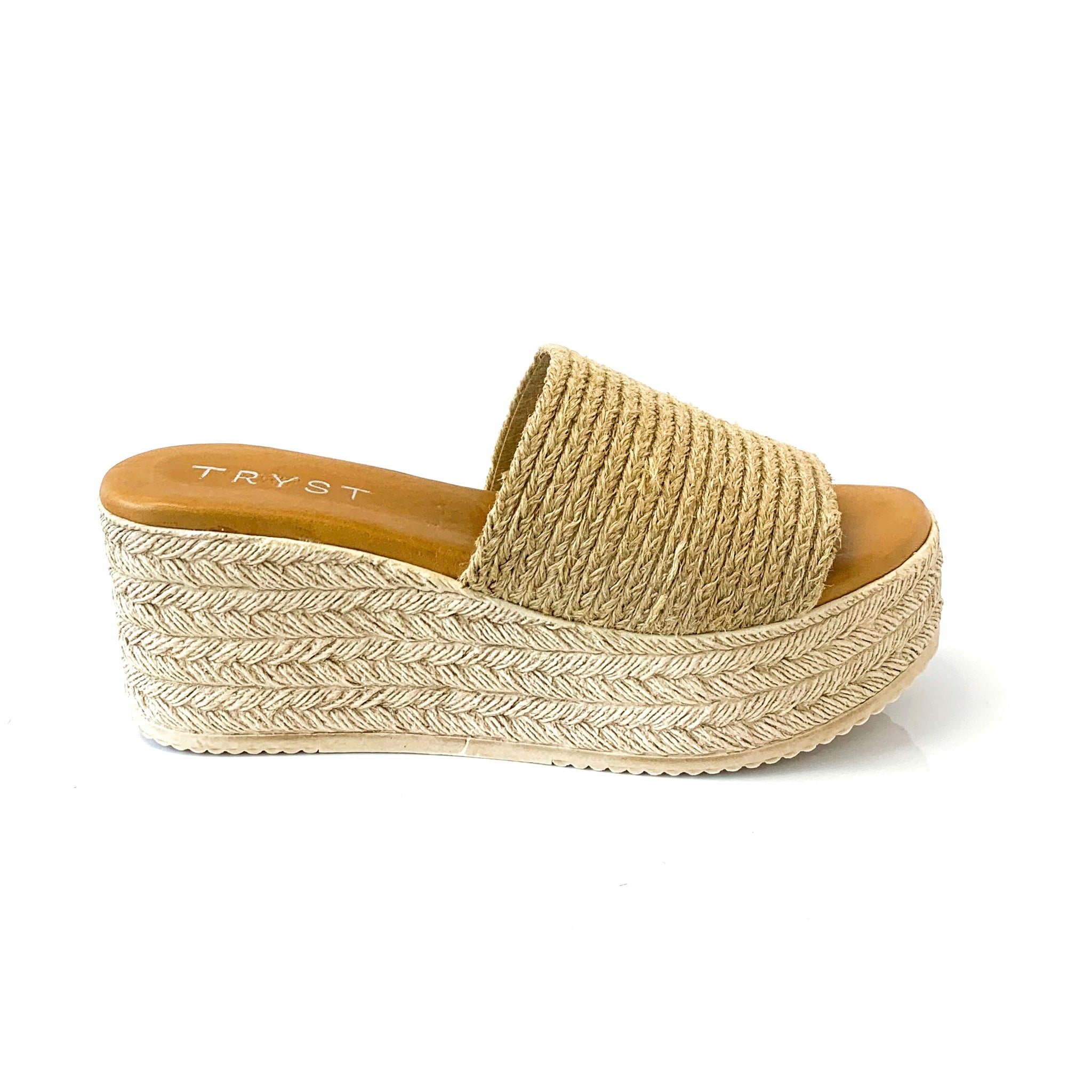 LAZ | Platform Beige Sandals with Thick Strap - TrystShoes