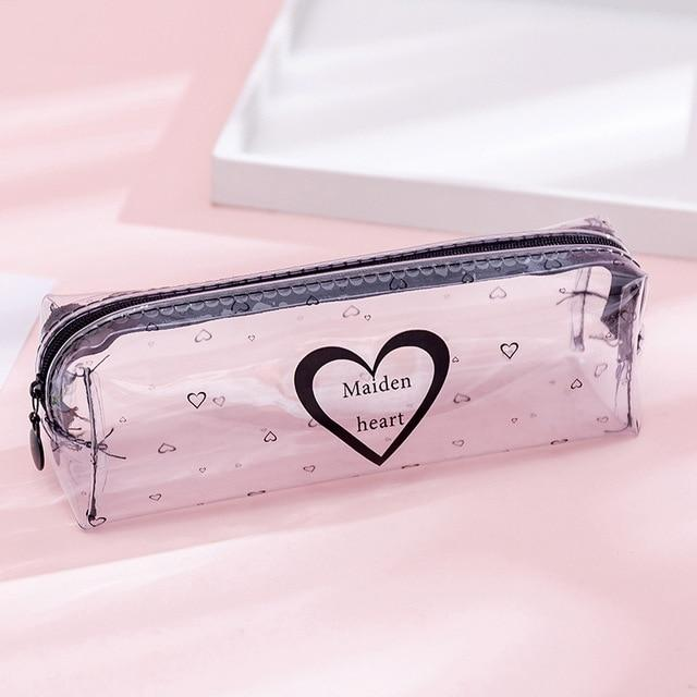 Transparent Letter Star Heart School Pencil case Large Capacity pencil box Storage bag Stationery gift School Supplies escolar