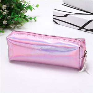 Kawaii Iridescent Laser Pencil Case Quality PU School Supplies Waterproof Bts Stationery Gift Pencilcase School Cute Pencil Box
