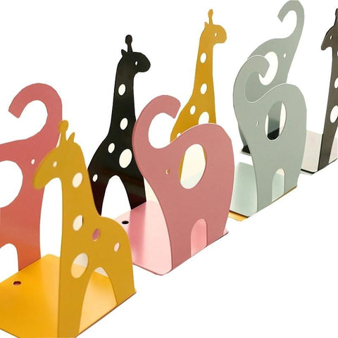 1 Pair Cute Animal Metal Bookends Book Organizer Books Holder Desktop Bookshelf Christmas Elk Cat Decorative Bookends Non-skid