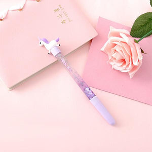 1pcs Cute 0.5mm Horse Ballpoint Pen Drift Sand Glitter Crystal Pen Shiny Colorful Creative Ball Pen Kids Gift Novelty Stationery