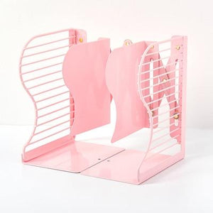 1 Pc Pink Metal Bookends Adjustable Book Stand Hollow Desktop Bookshelf Office Organizer for Documents Books Storage Stationery