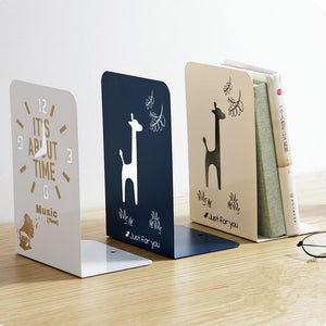 2pcs/pair Metal Bookends Iron Support Holder Desk Book Organizer For Students Simple Book Stands School Gift Stationery