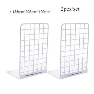 Black White Bookshelf Bookends Metal Book Stand Adjustable Wire Mesh Shelf simple Creative Desk Magazine Book Holder Stand