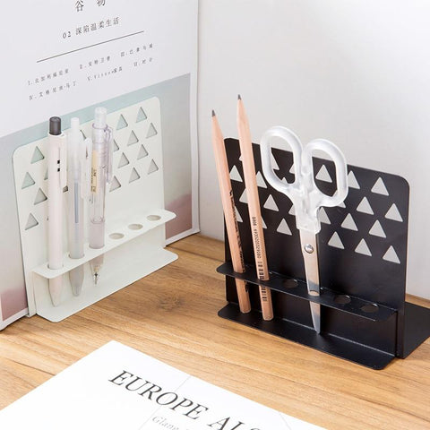 2pc Creative Metal Bookends Hollow Desktop Organizer For Pen Book Holder Stand Office School Supplies Student Gift Stationery