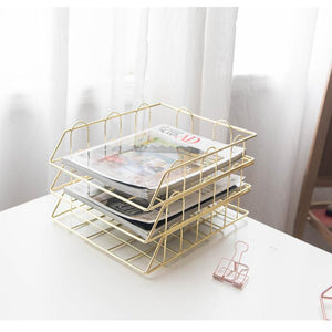 Fashion Creative Ins Gold Metal File Tray Magazine Organizer Desk Set By Handmade Overlayable File Organizer Layering