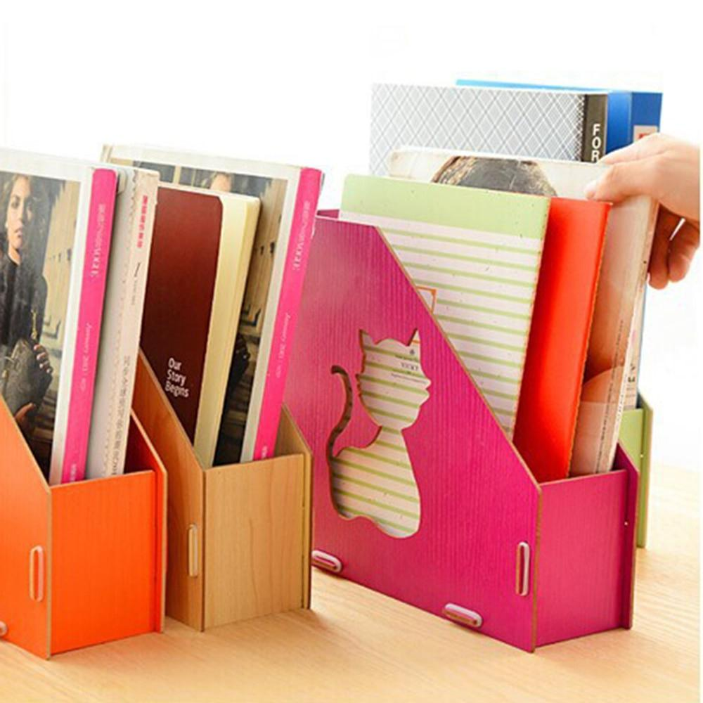 Home School Office Wooden Detachable Desktop File Holder single Compartment File Holder Organizer Hollow-Out Cat
