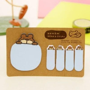 New Cute Kawaii Animal Korean Rabbit Sheep Stationery Memo Pad Scrapbooking Sticky Notes Book Paper Sticker Bookmark Pepsi Stick
