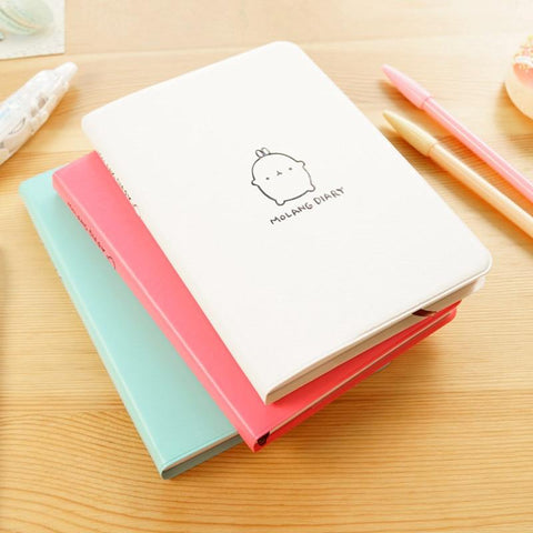 2019 - 2020 New Molang Notebook Korean Stationery Molang Diary Weekly Planner a5 Sketchbook Agenda Leather Kawaii Journal Dairy