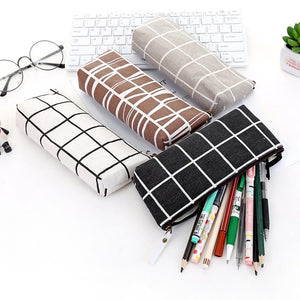 Canvas Pencil Case school Pencil Bag Simple Striped grid pencilcase Office Supplies Pen bag Students Pencils Writing Stationery