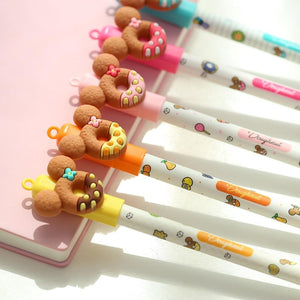 5 pcs Cute bear gel pen Donuts cookie 0.5mm ballpoint Blue color pens Stationery school writing supplies Canetas escolar F440
