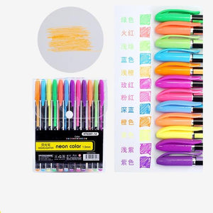 12pcs Colored Gel Pens Kawaii Stationery Pastel Glitter Fluorescent Metallic Color Marker Pens School Supplies Students Gifts