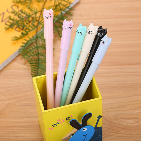 5 Colors Cute Kawaii Black Ink Cat Gel Pen Cartoon Plastic Gel Pens for Writing Office School Supplies Stationery 2019 NEW