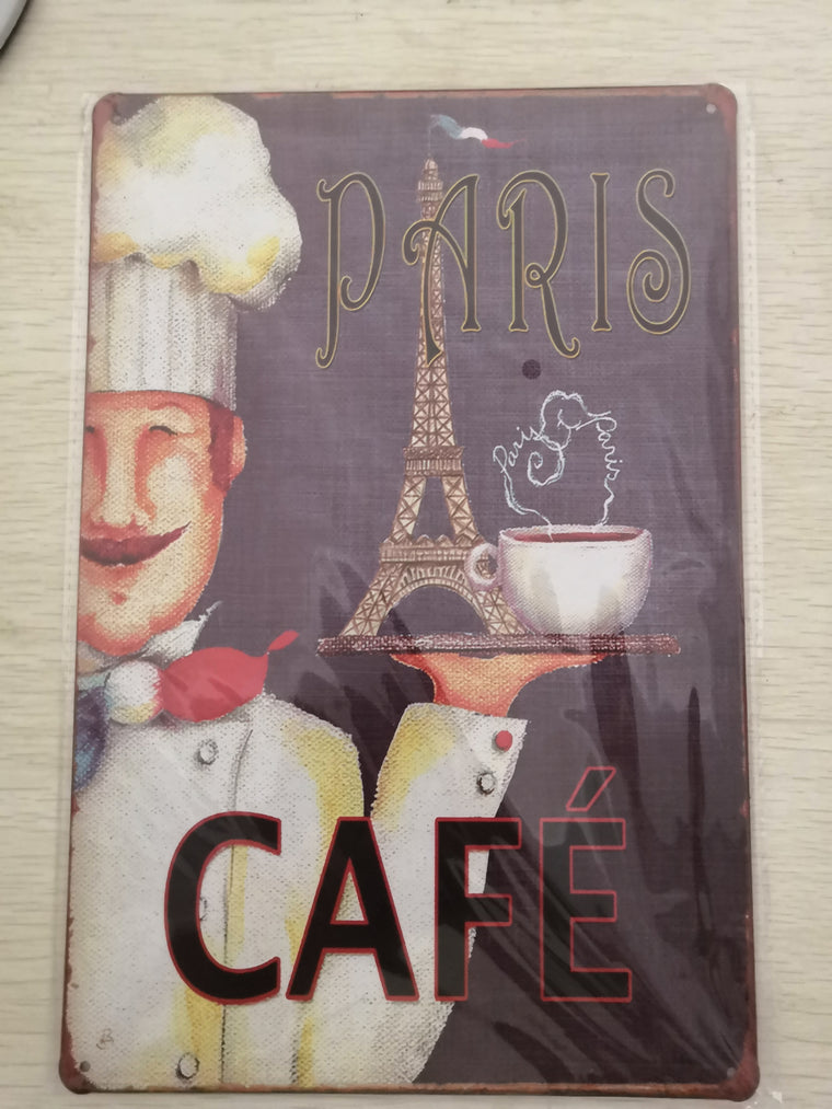HOT Chocolate OPEN sign Vintage Metal Tin Sign Cafe Art Wall Plaque Poster