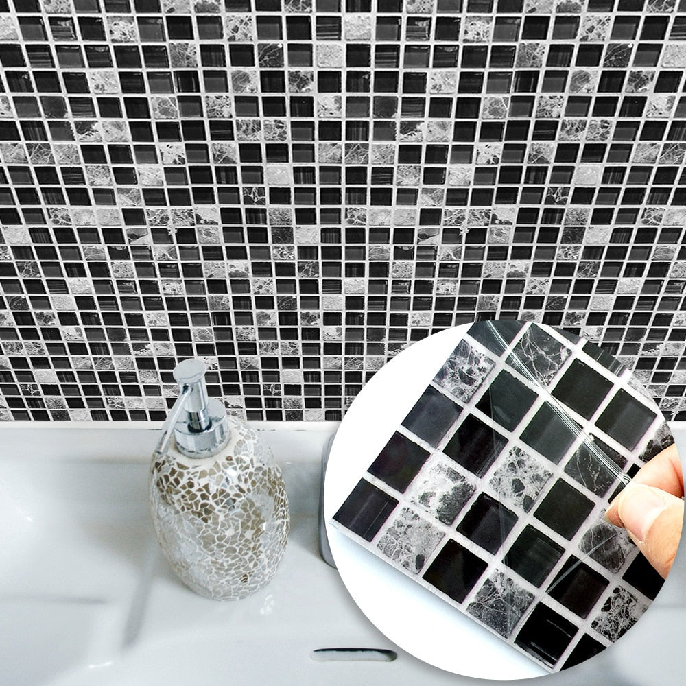 Grey Wall Tile Stickers Peel and Stick Self-Adhesive Wall Tile with Mosaic Effect for Kitcheh Bathroom Backsplash Black Grey White 20*20cm Pack of 6