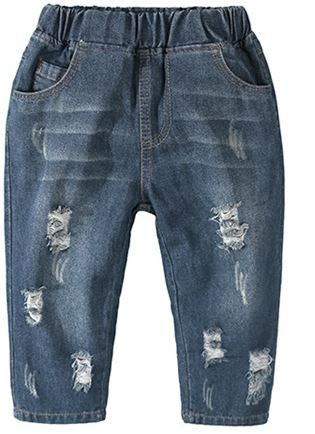 Distressed Medium Wash Rolled Toddler Jeans