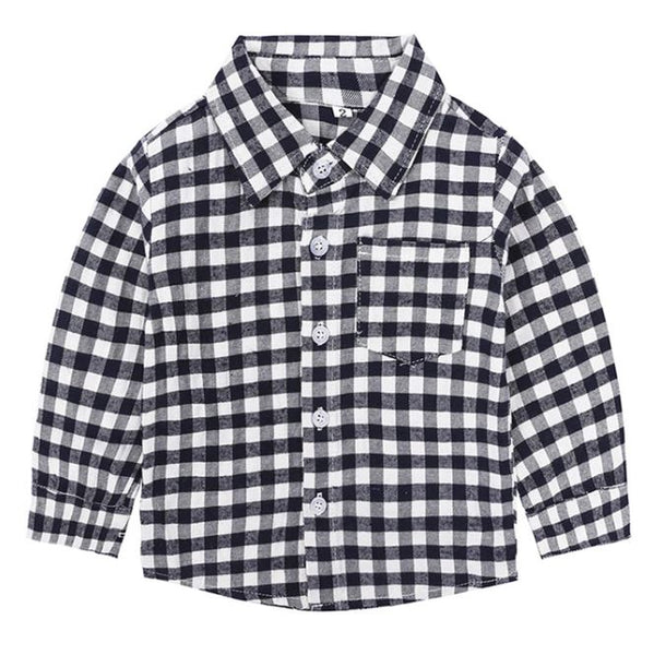 Navy and White Plaid Toddler Shirt