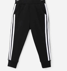 Black and White Striped Toddler Jogger