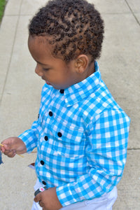 Turquoise Plaid Button Down Shirt