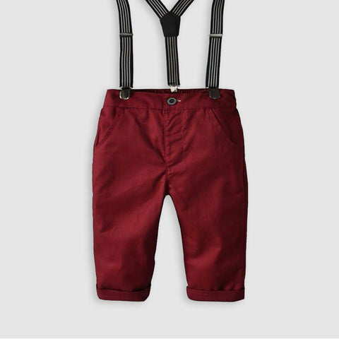Solid Burgundy Pants With Suspenders