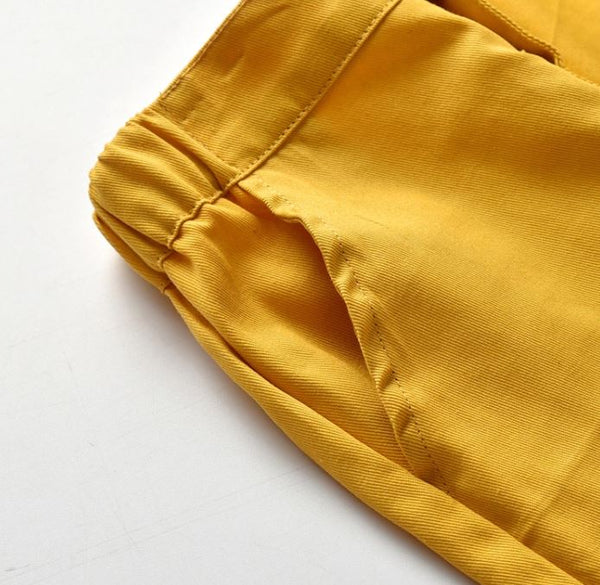 Mustard Flat Front Toddler Pant w/Suspenders