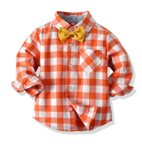 Orange Plaid Toddler Shirt w/Bowtie