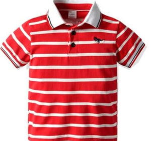 Red and White Striped Toddler Polo