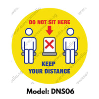DNS06 - Social Distancing Do Not Sit Here Round [SG Ready Stock] - Awesomedia Pte Ltd