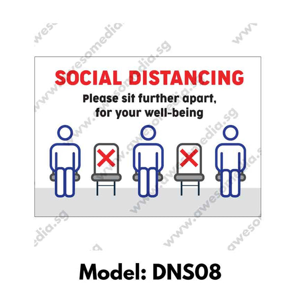 DNS08 - Social Distancing Sticker [SG Ready Stock] - Awesomedia Pte Ltd