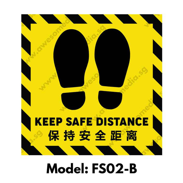 FS02B - Social Distancing Floor Sticker [SG Ready Stock] - Awesomedia Pte Ltd