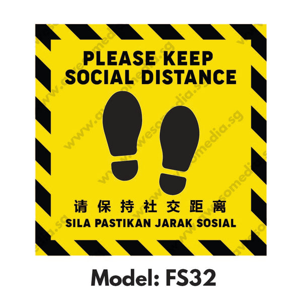 FS32 - Social Distancing Floor Sticker [SG Ready Stock] - Awesomedia Pte Ltd