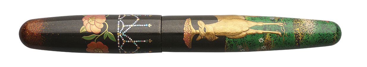 Danitrio Persian Deer Maki-E on Mikado Fountain Pen Closed