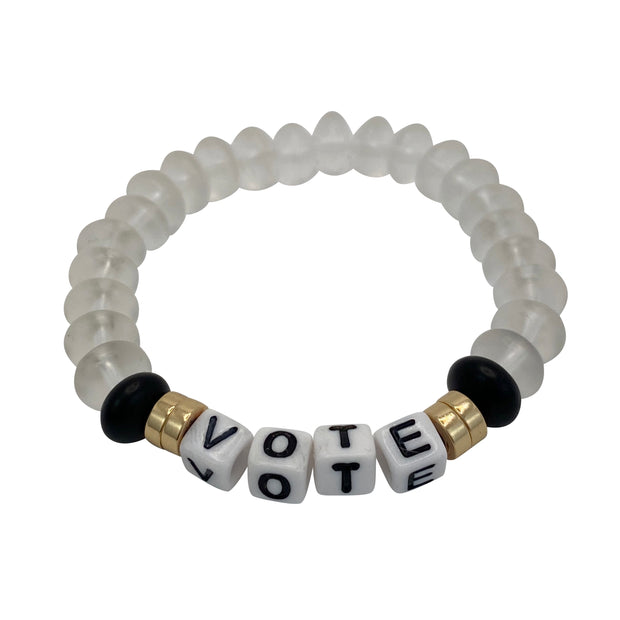 Libertas & Justicia White Sea Glass VOTE Cord