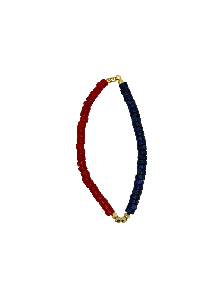 US Lapis+Coral+Gold Plated Diamond Cut Cord #2