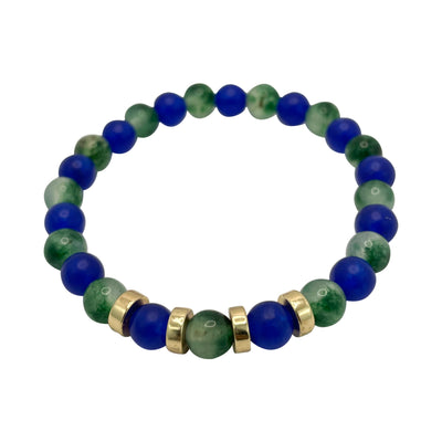 The 12 Blue & Green Jade + Gold Plated Cord