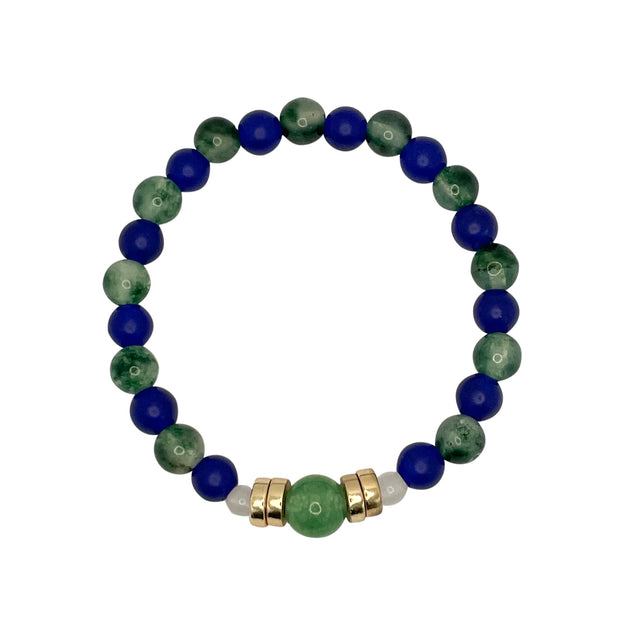 The 12 Blue+Green+White Jade Cord