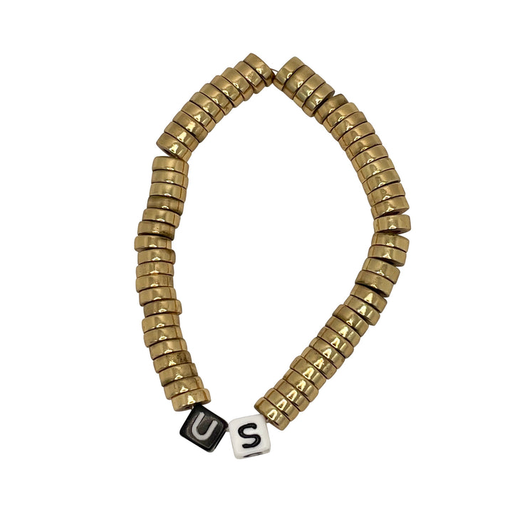 US Gold Plated Heishi B/W CORD