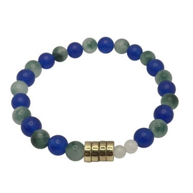 The 12 Blue+Green+White Jade + Gold Plated Cord