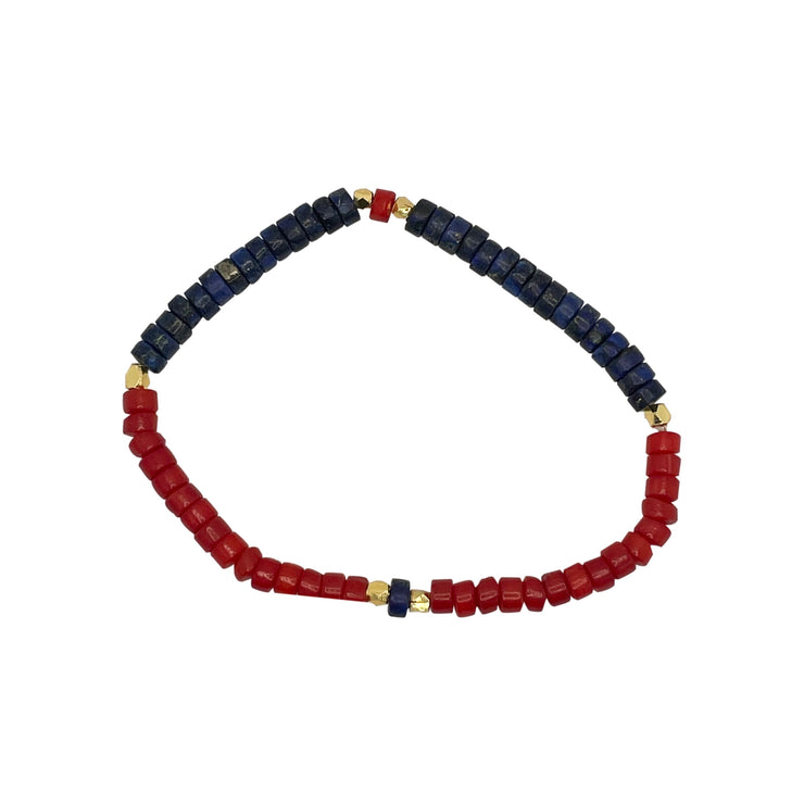 US Lapis+Coral+Gold Plated Diamond Cut Cord #1