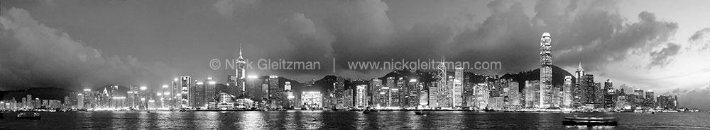 070706-4299-304-BW <i>Hong Kong City Lights B&W</i>