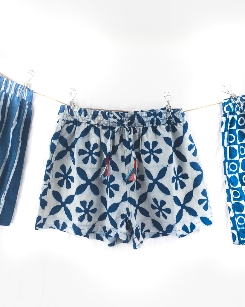 Ladies Indigo Flower Shorts