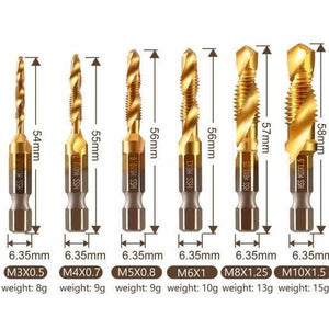 6 Piece Thread Tap Drill Bits Set